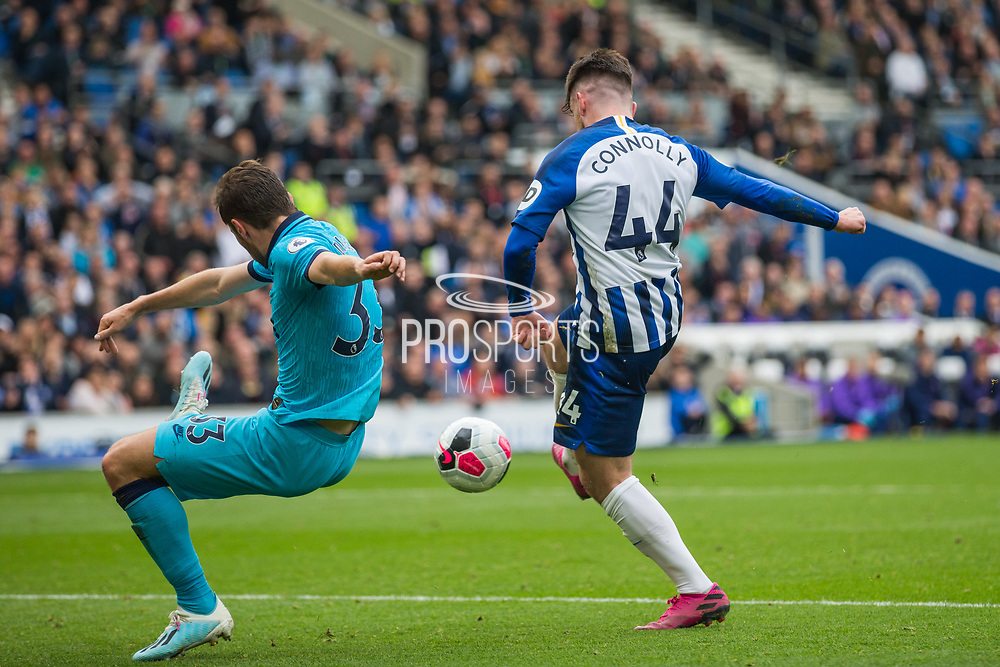 GOAL: Aaron Connolly (Brighton) scores a goal getting the ball past Ben Davies (Tottenham) during the Premier League match between Brighton and Hove Albion and Tottenham Hotspur at the American Express Community Stadium, Brighton and Hove, England on 5 October 2019.