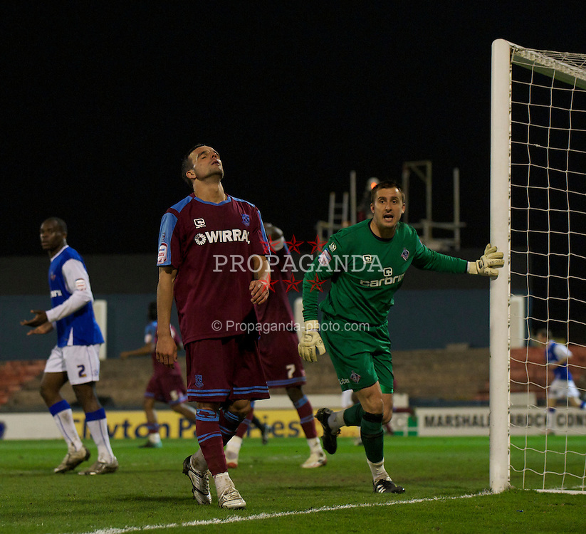 OLDHAM, ENGLAND - Monday, March 28, 2011: Tranmere Rovers' Robbie Weir rues a missed chance in the last minute of injury time against Oldham Athletic during the Football League One match at Boundary Park. (Photo by David Rawcliffe/Propaganda)