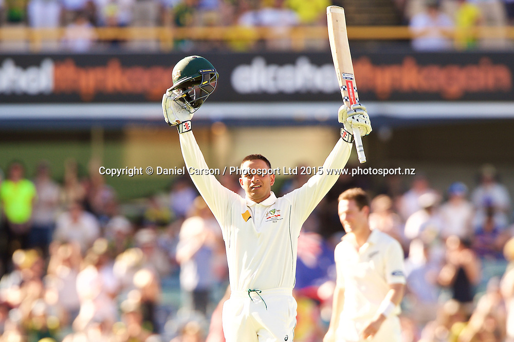 Usman Khawaja of Australia celebrates his century during Day 1 on the 13th of November 2015. The New Zealand Black Caps tour of Australia, 2nd test at the WACA ground in Perth, 13 - 17th of November 2015.   Photo: Daniel Carson / www.photosport.nz