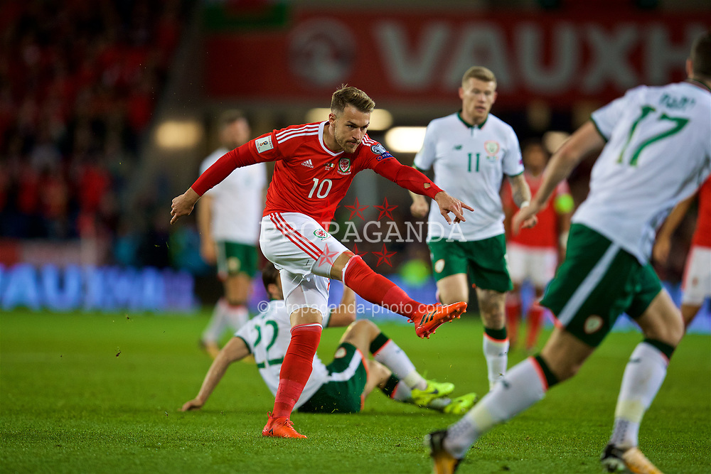 CARDIFF, WALES - Monday, October 9, 2017: Wales' Aaron Ramsey during the 2018 FIFA World Cup Qualifying Group D match between Wales and Republic of Ireland at the Cardiff City Stadium. (Pic by David Rawcliffe/Propaganda)