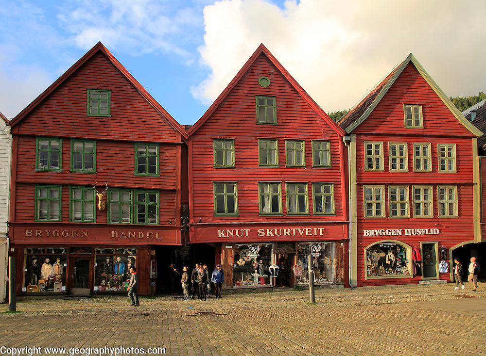 Historic Hanseatic League wooden buildings  Bryggen area, Bergen, Norway UNESCO World Cultural Heritage site