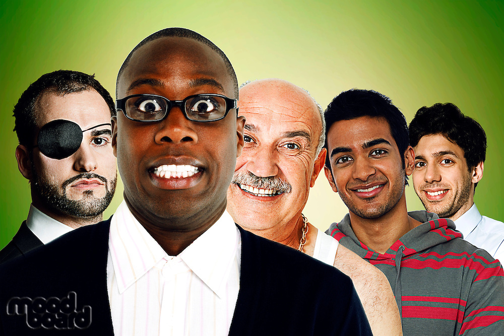 Portrait of multi-ethnic friends standing in front of green background