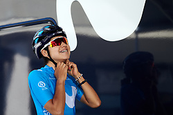 Paula Patino Bedoya (COL) prepares for Stage 5 of 2019 Giro Rosa Iccrea, a 88.8 km road race from Ponte in Valtellina to Lago di Cancano, Italy on July 9, 2019. Photo by Sean Robinson/velofocus.com