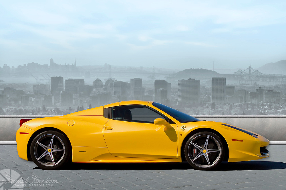 Composite photo of a Ferrari with the San Francisco Bay view in the background.