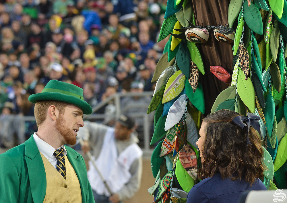 The Tree and the Notre Dame Leprechaun chat on the sideline during the game.