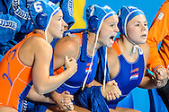 05-08-2015: Waterpolo: Italie v Nederland: Kazan<br /> <br /> Spanning tijdens de strafworpenserie bij Nomi Stomphorst of team Netherlands, Teammanager Ineke Yperlaan of team Netherlands en Vivian Sevenich of team Netherlands<br /> <br /> Waterpolo match between ladies of Italy and The Netherlands during the 16th FINA World Championships 2015 in Kazan