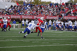 17 October 2009:  Donye McCleskey grabs at Eyad Salem as Salem grabs the ball.  Salem loses McCleskey and scores. The Indiana State Sycamores tumble to the Illinois State Redbirds 38-21 at Hancock Stadium on campus of Illinois State University in Normal Illinois