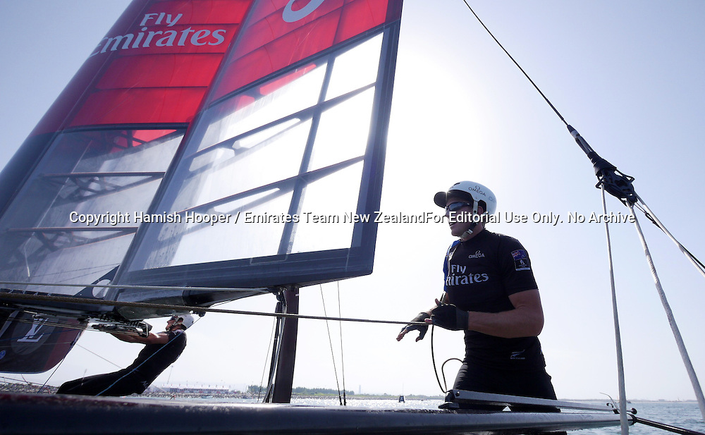 28/2/16 Emirates Team New Zealand sailing on race day one of Louis Vuitton America's Cup World Series Oman<br />