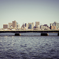 Retro Boston skyline with Harvard Bridge and the Boston Back Bay along the Charles River. Boston Massachusetts is a major city in the Eastern United States of America. Photo is high resolution. Copyright ⓒ Paul Velgos with All Rights Reserved.