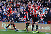 AFC Bournemouth's striker Glenn Murray (right) celebrates his goal during the Barclays Premier League match between Bournemouth and Watford at the Goldsands Stadium, Bournemouth, England on 3 October 2015. Photo by Mark Davies.