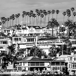 Corona del Mar California black and white picture.  Photo includes luxury homes in the Corona del Mar neighborhood of Newport Beach California.  Newport Beach is a wealthy beach community along the Pacific Ocean in Southern California. Photo is high resolution and was taken in 2012.