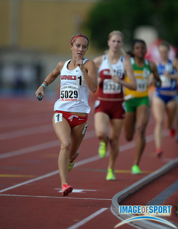 Mar 29, 2012; Austin, TX, USA; Alison Bartosch runs the second leg on the UNLV womens 4 x 800m relay that won in 8:39.22 in the 85th Clyde Littlefield Texas Relays at Mike A. Myers Stadium.