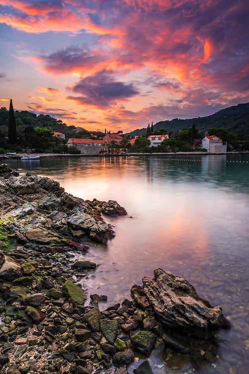 Sunset over the bay at Zaton, Dalmatian Coast, Croatia