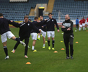 New member of the Dundee back room staff Tom Ritchie puts the players through their paces pre-match - Dundee v Hamilton, SPFL Championship at Dens Park<br />