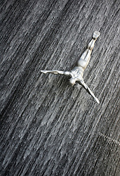 Sculpture in waterfall at Dubai Mall in Dubai in United Arab Emirates