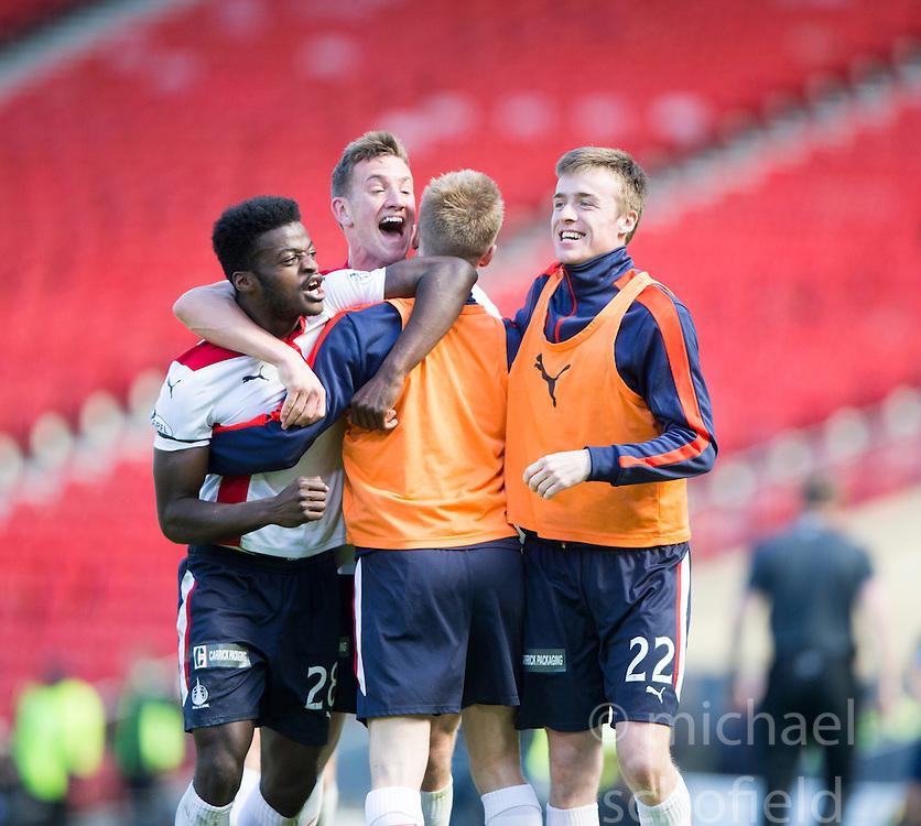 Falkirk's players cele the win.<br /> Hibernian 0 v 1 Falkirk, William Hill Scottish Cup semi-final, played 18/4/2015 at Hamden Park, Glasgow.