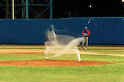 January 8, 2015 - Ciego de Avila, Cuba. A pitcher for Ciego de Avila delivers in the late innings of a 7-6 win over visiting Granma. 01/08/2015 Photograph by Joseph Swide/NYCity Photo Wire