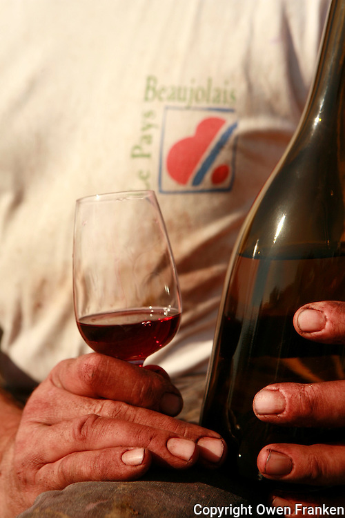 Domaine du Vissoux, Beaujolais.Pierre Chermette's with a glass of Beaujolais.. September 14, 2007..Photo by Owen Franken for the NY Times.