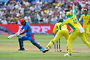 Wicket - Hashmatullah Shahidi of Afghanistan is stumped by Alex Carey of Australia off the bowling of Adam Zampa of Australia during the ICC Cricket World Cup 2019 match between Afghanistan and Australia at the Bristol County Ground, Bristol, United Kingdom on 1 June 2019.