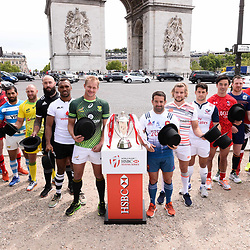 Dai Ozawa of Japan, Faalemiga Selesele of Samoa, Sam Cross of Wales, Gaston Revol of Argentina, James Stannard of Australia, DJ Forbes of New Zealand, Osea Koliniseau of Fiji, Philip Snyman of South Africa, Julien Candelon of France, Tom Mitchell of England, Madison Hughes of USA, Nathan Hiriyama of Canada, Scott Riddell of Scotland, Andrew Amonde of Kenya, Vladimir Ostroushko of Russia and Igor Genua of Spain during Captains photocall and press conference prior to the Hsbc Paris Rugby Sevens on May 11, 2017 in Paris, France. (Photo by Baptiste Fernandez/Icon Sport)