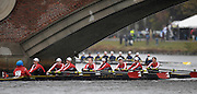 Cambridge, USA, Collegiate women's Eights, McGill University, CAN. approaching  the John Weeks footbridge during the  2009 Head of the Charles  Sunday  18/10/2009  [Mandatory Credit Peter Spurrier Intersport Images],.