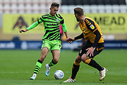 Forest Green Rovers Taylor Allen(12) takes on Cambridge United's George Taft(4) during the EFL Sky Bet League 2 match between Cambridge United and Forest Green Rovers at the Cambs Glass Stadium, Cambridge, England on 7 September 2019.