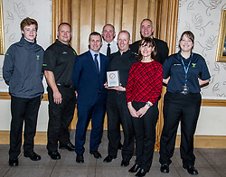 Pictured: Youth Volunteer Greg Meechan, PC Tony Howard, group co-ordinator; Michael Matheson, Assistant Chief Constable John Hawkins, Inspector Greig Rankine, National Volunteer co-ordinator, George Thomson, Chief Executive Volunteer Scotland, Anne Hislop Manager Investors in Volunteers Scotland and Adult Volunteer Laura Stewart<br /> Today the Police Scotland's Youth Volunteer scheme was presented with 'Investing in Volunteers' award by Volunteer Scotland. Assistant Chief Constable John Hawkins, Justice Secretary Michael Matheson, and George Thomson (Chief Executive) from Volunteer Scotland were on hand for the ceremony.<br /> <br /> <br /> Ger Harley | EEm 13 December 2017