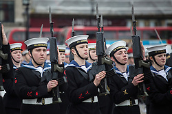 © licensed to London News Pictures. London, UK 21/10/2012. Cadets marching at Sea Cadets annual Trafalgar Day Parade in Trafalgar Square, London. Photo credit: Tolga Akmen/LNP