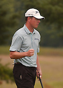 Michael Harris from Milwaukee, Wisconsin reacts after making birdie on the seventeenth hole of the Alpine course on his way to winning the 2006 Tournament of Champions at Boyne Mountain.
