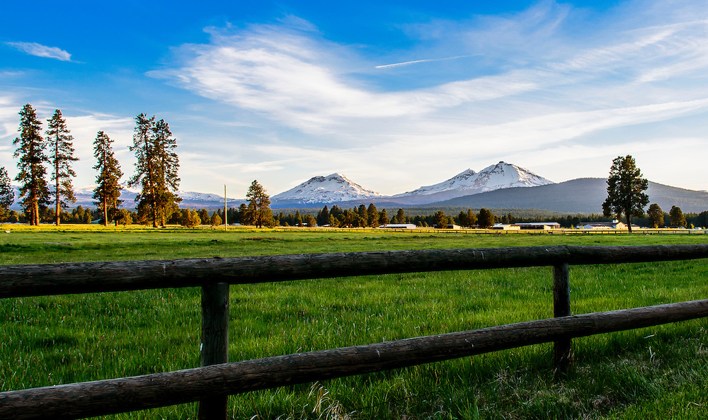 Named after the three mountain peaks, as seen from Sisters Town, Oregon at sunset.