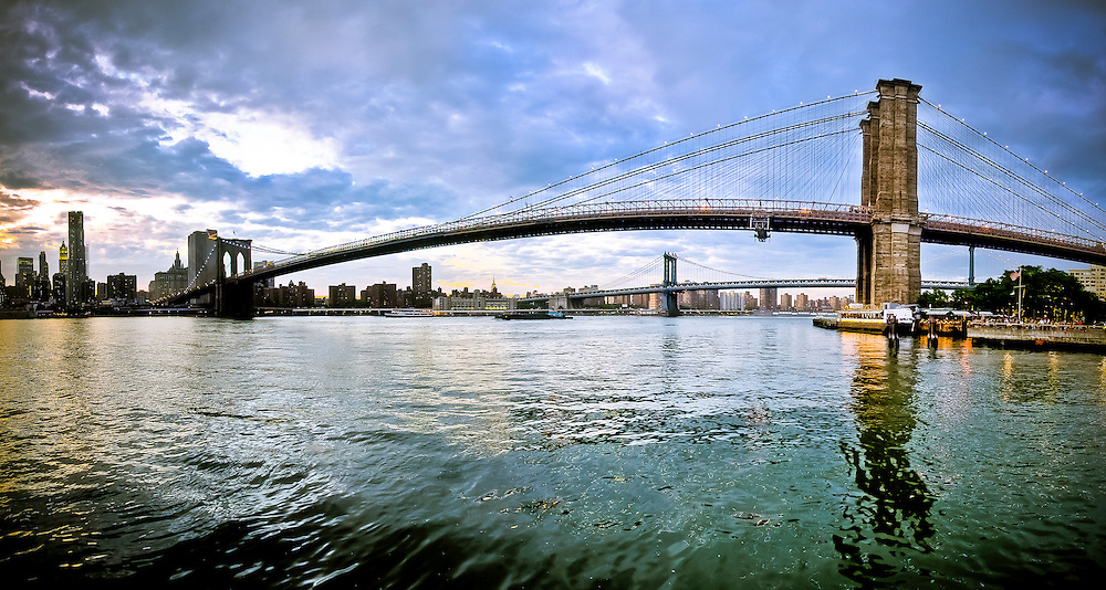 Panoramic picture of the Brooklyn Bridge, seen from the Brooklyn Bridge Park in Brooklyn, New York, 2010.
