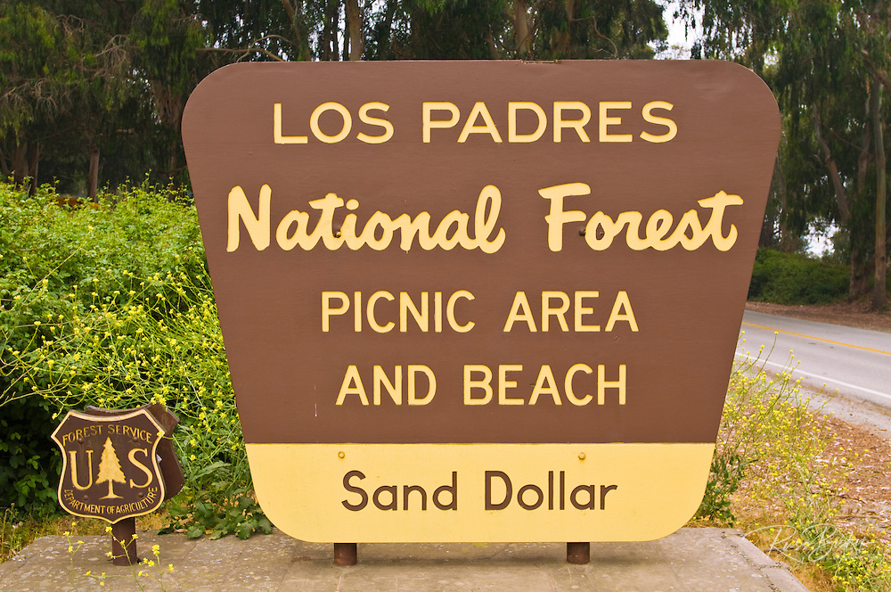 Sand Dollar Beach sign on Highway 1, Los Padres National Forest, Big Sur, California