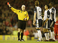 Photo: Aidan Ellis.<br /> Liverpool v Tottenham Hotspur. The Barclays Premiership.<br /> 14/01/2006.<br /> Spurs Paul Stalteri is sent off