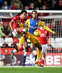 Korey Smith of Bristol City battles with Daniel Johnson of Preston North End - Mandatory by-line: Paul Knight/JMP - Mobile: 07966 386802 - 12/01/2016 -  FOOTBALL - Ashton Gate Stadium - Bristol, England -  Bristol City v Preston North End - Sky Bet Championship