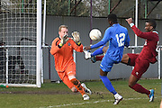 Greenwich Borough's Mohamed Eisa lifts ball over the keeper to score (5-0) during the Southern Counties East match between AFC Croydon Athletic and Greenwich Borough at the Mayfield Stadium, Croydon, United Kingdom on 12 March 2016. Photo by Martin Cole.