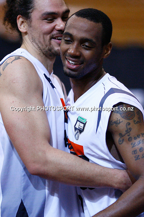 Hawks' Josh Pace celebrates the win with teammate Miles Pearce. 2010 NBL, Harbour Heat v Hawke's Bay Hawks, North Shore Events Centre, Auckland. Friday 21st May 2010. Photo: Anthony Au-Yeung/PHOTOSPORT