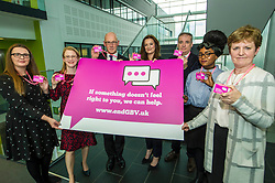 Pictured: Vonnie Sandlan, Colleges Scotland, Shirley-Anne Somerville, John Swinney, Fiona Drouet, Richard Lockhead; Shuwanna Aaron, NUS Scotland and Professor Andrew Nolan<br /> <br /> Education Secretary John Swinney  joined college and university staff to launch a resource to handle gender-based violence. Fiona Drouet's daughter Emily committed suicide following being abused by a fellow student.  She started the Emily test and gathered political support for the establishment of a resource so that all students and staff who how to repond if they or others are abused due to gender.  More than 100,000 cards have been printed featuring the national support helplines for gender-based violence and sexual harassment. They have been designed to be carried constantly by staff, to enable them to quickly refer any victims to help.