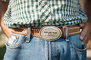 Keith Huettig of Homestead Natural Beef proudly displays his Idaho pride on his belt buckle