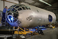 the Enola Gay as it is being retored in the Smithsonian Air and Space facility in Silver Hill Maryland.  ..Photograph by Dennis Brack bb25