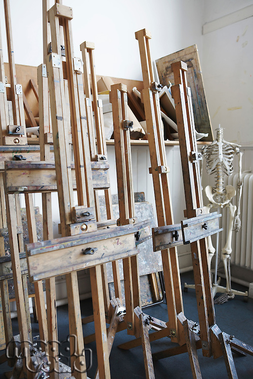 Group of Easels in empty artist's studio