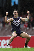 Nick Lower of Fremantle celebrates after goaling in the final quarter during the AFL Round 17 match between the Sydney Swans and the Fremantle Dockers at the SCG, Sydney.