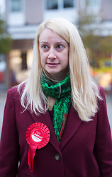 © Licensed to London News Pictures. 21/11/2019. Bristol, UK. General Election 2019; local Labour candidate MHAIRI THRELFALL, on a visit to Fountain Square, Broad Street, in the seat of Filton and Bradley Stoke on the day Labour launched their manifesto. Labour candidate Mhairi Threlfall is challenging sitting Conservative MP Jack Lopresti in Filton and Bradley Stoke. Nia Griffith, Labour shadow defence secretary was present to give support. Photo credit: Simon Chapman/LNP.
