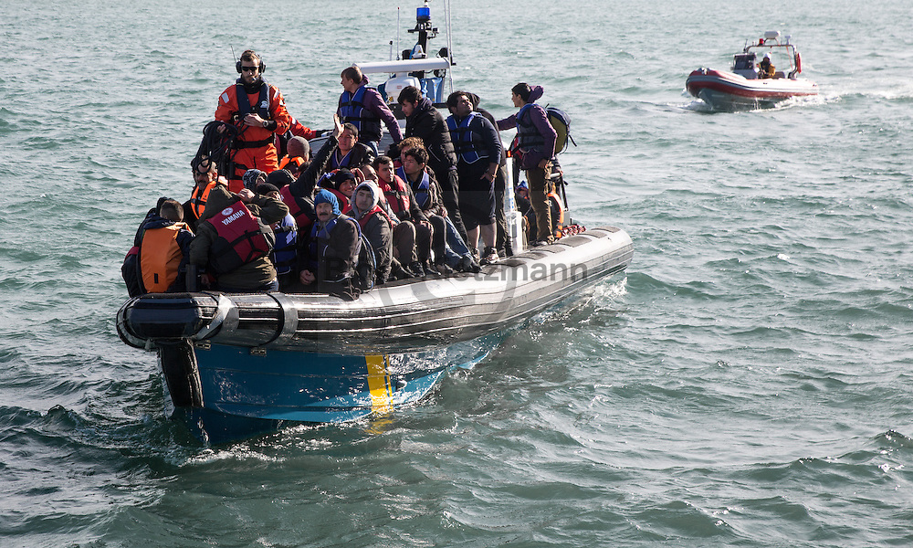 Mytilene, Lesvos, Greece - 07.03.2016      <br /> <br /> The Swedish coast guard rescues refugees between Turkey and the Greek island Lesvos and brings them in the port of Mytilene.<br /> <br /> Die schwedische Kuestenwache rettete Fluechtlinge zwischen der Tuerkei und der griechischen Insel Lesbos und brachte diese anschlie&szlig;end in den Hafen von Mytilini.<br /> <br /> Foto: Bjoern Kietzmann