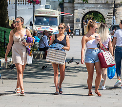 © Licensed to London News Pictures. 23/06/2020. London, UK. Members of the public go out in the sunshine along Richmond Riverside in South West London as forecasters predict a hot week ahead with temperatures expected to reach over 30c. Prime Minister, Boris Johnson announces that tourism and hospitality including pubs, restaurants and campsites can now reopen from the 4th of July as well as reducing the 2 metre rule to 1 metre.  Photo credit: Alex Lentati/LNP <br /> <br /> *Permission Given*