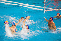 Nikola Dedovic of Primorje vs Alexandros Gounas of Olympiacos during water polo match between Primorje Erste Bank (CRO) and Olympiacos Piraeus (GRE) in 8th Round of Champions League 2016, on April 16, 2016 in Kantrida pool, Rijeka, Croatia. Photo by Vid Ponikvar / Sportida