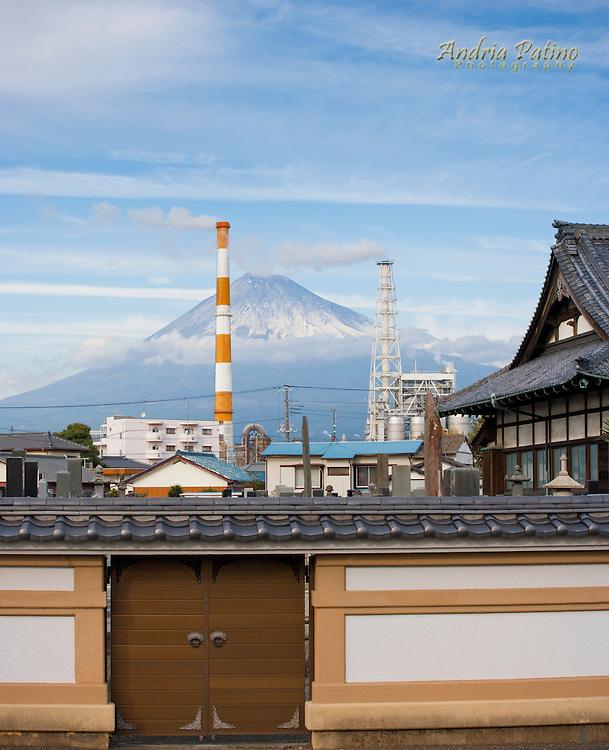 Smokestacks and Mt. Fuji, Honshu, Japan