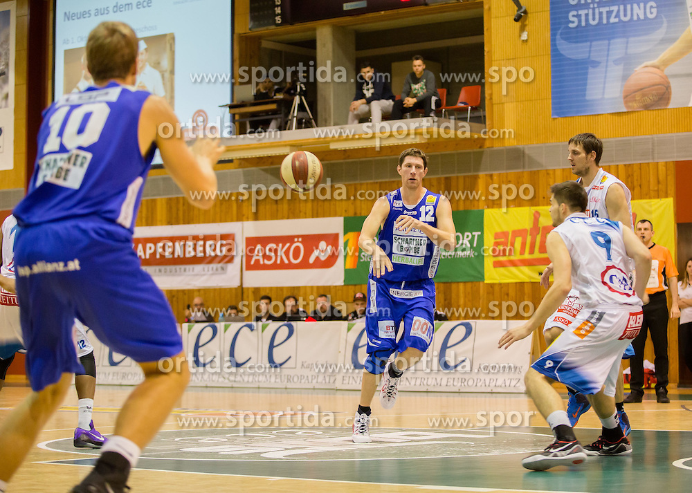 26.10.2014, Walfersamhalle, Kapfenberg, AUT, ABL, ece Bulls Kapfenberg vs Swans Gmunden, 8. Runde, im Bild v.l.: Richard Poiger (Swans Gmunden)gMatthias Mayer (Swans Gmunden) Filip Kreamer (Bulls Kapfenberg) Martin Kohlmaier (Bulls Kapfenberg) // during the Austrian Basketball League, 8th Round, between ece Bulls Kapfenberg and Swans Gmunden at the Sportscenter Walfersam, Kapfenberg, Austria on 2014/10/26, EXPA Pictures © 2014, PhotoCredit: EXPA/ Dominik Angerer