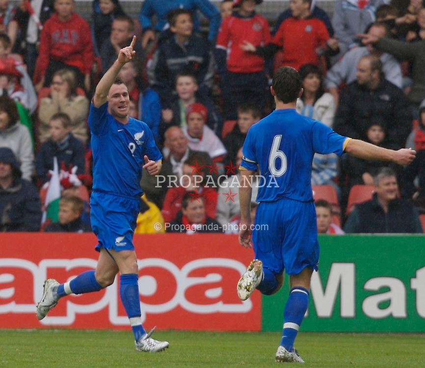 Wrexham, Wales - Saturday, May 26, 2007: New Zealand's Shane Smeltz celebrates his second goal against Wales during the International Friendly match at the Racecourse Ground. (Pic by David Rawcliffe/Propaganda)