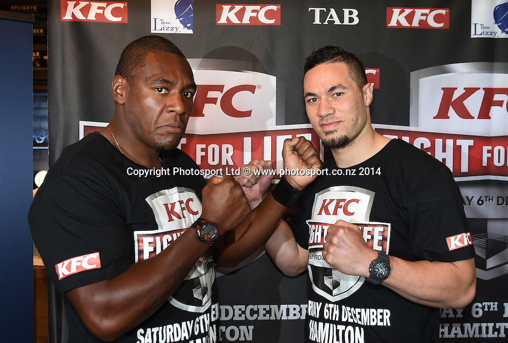 Heavyweight Boxers Joseph Parker and and Irineu Beato Costa jr pose for a picture during a press conference for the KFC Fight For Life by Duco Events. Auckland, New Zealand. Wednesday 3 December 2014. Photo: Andrew Cornaga/www.photosport.co.nz.