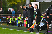 Joey Barton of Fleetwood Town (Manager) reacts during the EFL Sky Bet League 1 match between Fleetwood Town and AFC Wimbledon at the Highbury Stadium, Fleetwood, England on 10 August 2019.